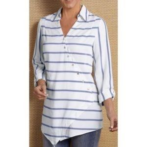 Soft Surroundings crossover tencil striped top 1X